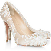 Alexander McQueen | Lace-covered satin pumps | NET-A-PORTER.COM