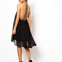 ASOS Emebllished Panel Back Swing Dress - Black