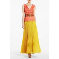 NWT BCBG ESTEL SUNFLOWER PLEATED POLYESTER LONG MAXI SKIRT XS, S, M