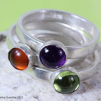 Gems Ring Trio - gemstone amethyst, peridot and amber sterling silver rings