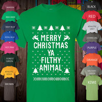 Win-The-UGLY-CHRISTMAS-SWEATER-Contest-This-Year-Great-Merry-Christmas-You-Filthy-Animal-Tee-Awesome-Print-for-XMas-Hot-