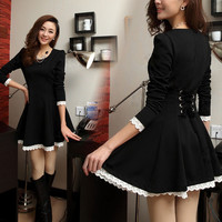 FASHION BLACK LONG SLEEVE NICE DRES