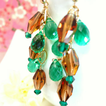 Brown Swarovski crystal and emerald green quartz chandelier gold filled earrings, green and brown crystal dangle earrings