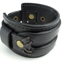 Jewelry Wide Genuine Leather Men's Bangle Cuff Bracelet, Punk Rock Style for Men Women 2586S