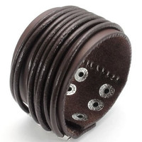Jewelry Wide Genuine Leather Men's Bangle Cuff Bracelet, Punk Rock Style for Men Women 2588S