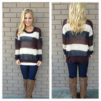 Burgundy & Navy Knit Pocket Sweater