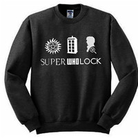 SuperWhoLock Fandom Sweatshirt - Many sizes available - Supernatural Doctor Who Sherlock multifandom tumblr unisex gift