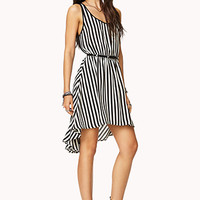 Vertical Stripe High-Low Dress w/ Belt