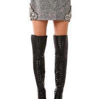 Beaded Tweed Mini Skirt