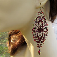 Holiday earrings burgundy dangle Bohemian earrings Bohemian jewelry