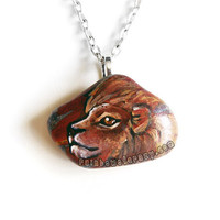 Lion Necklace, Leo Zodiac Jewelry, Hand Painted Pendant, Beach Stone, Wearable Art, Astrology Charm Necklace, Animal Painting