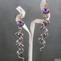 "Snake Earrings - Blue Topaz Earrings - Purple Amethyst Earrings - Blue Topaz Amethyst Dangle Snake Earrings - ""Wiggler"""