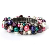 Bracelet glass pearls dark tones. Handcrafted elastic wristband glass beads emerald, purple, grey, silver-colored beaded bracelet (Albarese)