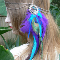 head chain peacock purple feather head chain headdress halo head piece in tribal Native American boho gypsy hippie hipster style