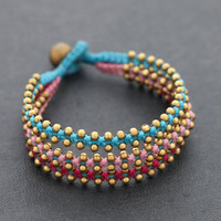 Tri Band Berry Brass Bracelet