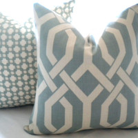 Pillow - Designer Robin's egg and ivory throw pillow cover - 16 x 16 pillow cover