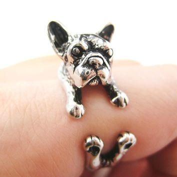 French Bulldog Puppy Animal Wrap Ring in Shiny Silver - Sizes 4 to 9 Available from DOTOLY