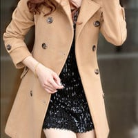 Elite Leather Bags — Women's OL Style Fitted Wool Spring autumn winter Pashm Coat Military jacket