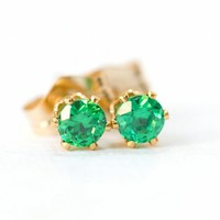 Little Emerald Green CZ Gold Filled Pierced Earrings Studs | SusanSheehan - Jewelry on ArtFire