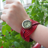Leather Belt Braided Watch Red