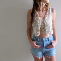 White Lace Tank Vest Womens See Through Sleeveless Blouse Bohemian Gypsy Sheer
