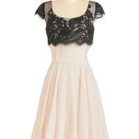ModCloth Long Cap Sleeves A-line Breathtaking Belle Dress in Ivory