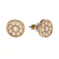 LC Lauren Conrad Gold Tone Simulated Crystal & Simulated Pearl Round Stud Earrings