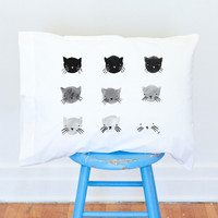 Greyscale Kitties pillow case