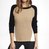 COLOR BLOCK SIDE SLIT SHAKER KNIT SWEATER