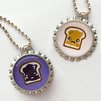 PB&J Bottle Cap Necklaces - best friend gift, for best friend, best friend jewelry, peanut butter and jelly necklace, best friend necklace