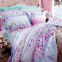 DIAIDI Blue/Purple Floral Bedding Set,Queen Size,Spring Duvet Cover