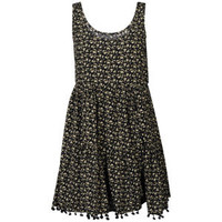 Women's Tiered Bobble Trim Dress - Black
