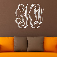 Monogram Initials Wall Decal - Engraved Style Wall Decal - Personalized Wall Decal - Monogram Wall Decal - Just Married Decal - Decal - ND21