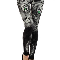 Green Eye of the Tiger Leggings | OnlyLeggings.com - Women's Leggings Superstore