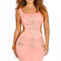 Salmon And Gold Embellished Open Back Dress