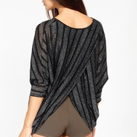 Black Shimmery Striped Overlaped Knit Cover Up