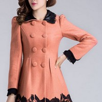 Flower Double-breasted A-line Coat - OASAP.com