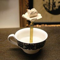 black and white lace teacup magnetic ring holder by whomadeit