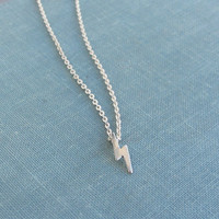 Lightning bolt necklace in sterling silver, tiny lightning bolt charm, simple silver lightning necklace, bolt necklace.