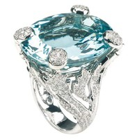 MISS DIOR Ring in 18K white gold and aquamarine