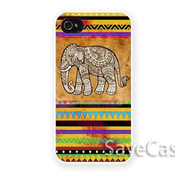 Art Elephant Aztec - iPhone Case - iPhone 4 iPhone 4s - iphone 5 - Samsung S3 - Samsung S4