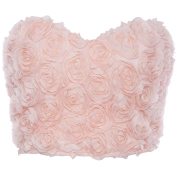ROMWE | ROMWE Faux Roses Embellished Pink Bandeau, The Latest Street Fashion