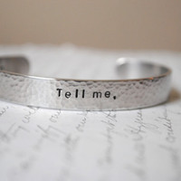 Tell Me, What is it You Plan to do with Your One Wild and Precious Life Secret Message Hand Stamped Custom Cuff Bracelet