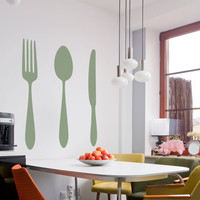 Dining Cutlery Silhouette Set Wall Art Decal