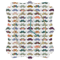 DENY Designs Home Accessories | Bianca Green Mustache Mania Quatrefoil Clock