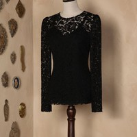 Long sleeved galon lace top Women - Long sleeved galon lace tops Women on Dolce&Gabbana Online Store United States - Dolce & Gabbana Group