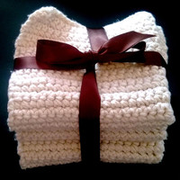 White Cotton Crochet Washcloths