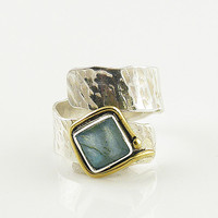 Labradorite Adjustable Two Tone Wrap Ring