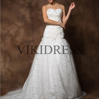 long wedding dress/lace wedding dresses/sweetheart bridal dress/Chapel Train bridal dress/lace bride gown/2013 new style Custom made yhz0047
