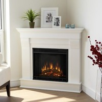 Real Flame Chateau Corner Electric Fireplace - White